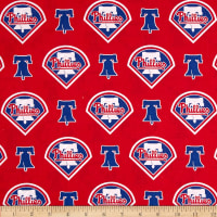 MLB Cotton Broadcloth Philadelphia Phillies Red/Blue