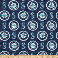 MLB Cotton Broadcloth Seattle Mariners Blue/White