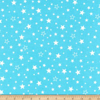 Kaufman Cozy Cotton Flannel Stars Aqua