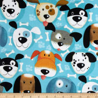 Flannel Dog Faces & Bone Turquoise