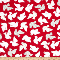 Kaufman Jingle Birds Red