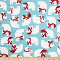 Kaufman Jingle Polar Bears Aqua