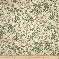 Kaufman Winter White Metallic Birds Ivory