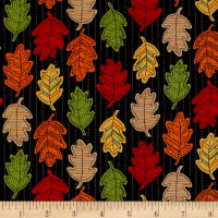 Moda Forest Fancy Falling Leaves Midnight Black