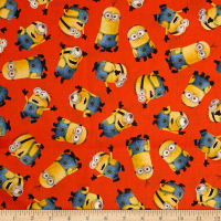 QT Fabrics Universal Despicable Me 1 in A Minion Tossed Minions Orange