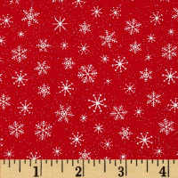 Let It Snow Glitter Snowflake Tonal Red