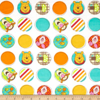 Disney Pooh Nursery Flannel Character Dots White