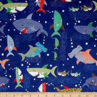 E.Z. Fabric Minky Sharkies Deep Ocean Blue