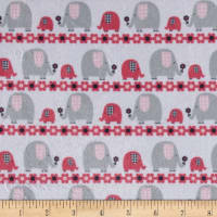 Minky Marching Elephants Candy Pink/Grey