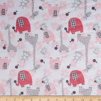 E.Z. Fabric Minky Jungle Dreams Candy Pink/Grey