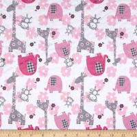 E.Z. Fabric Minky Jungle Dreams Fuchsia