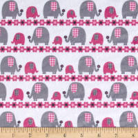 E.Z. Fabric Minky Marching Elephants Fuchsia