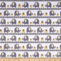 E.Z. Fabric Minky Marching Elephants Yellow