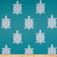 RCA Blackout Drapery Fabric Turtles Aqua/White