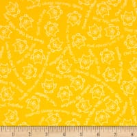 QT Fabrics Owl In The Family Owl Sketch & Words Yellow
