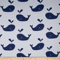 RCA Blackout Drapery Fabric Whales Navy