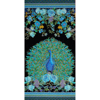 "Timeless Treasures Enchanted Plume Metallic 24"" Peacock Panel"