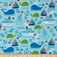 Timeless Treasures Nautical Motifs Aqua