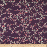 Art Gallery Wonderland Voile Enchanted Leaves Plum