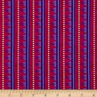 Laurel Burch Laurel Land Metallic Stripe Dark Fuchsia