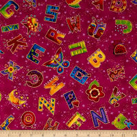 Laurel Burch Laurel Land Metallic Tossed Letters Dark Fuchsia