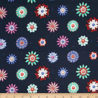 Cotton + Steel Picnic Enamel Flowers Navy