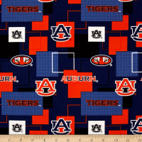 Collegiate Cotton Broadcloth Auburn University Block Print Navy