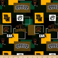Collegiate Cotton Broadcloth Baylor University Block Print Green