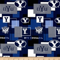Collegiate Cotton Broadcloth Brigham Young University Block Print Navy