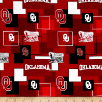 Collegiate Cotton Broadcloth University Of Oklahoma Block Print Red