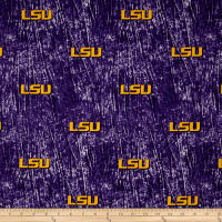 Collegiate Cotton Broadcloth Louisiana State University Tie Dye Print Purple