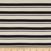 Designer Thermal  Knit Stripes Waffled Ebony/Cream