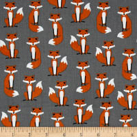 Kaufman Fabulous Foxes Small Foxes Grey