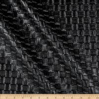 Faux Leather Basketweave Black