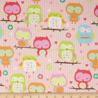 Riley Blake Owl & Co. Owl Main Pink