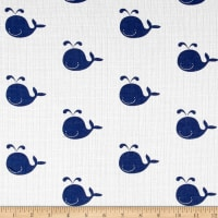 Riley Blake Double Gauze Whale Navy