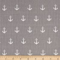 Riley Blake Double Gauze Anchors Gray
