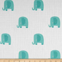 Riley Blake Double Gauze Elephant Aqua