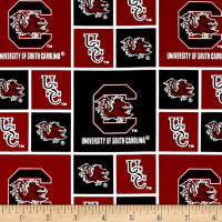 Collegiate Cotton Broadcloth University of South Carolina Garnet/Black
