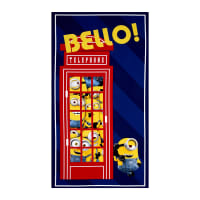 Minions British Invasion Bello! Telephone 24 In. Panel Navy