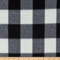 Fleece Buffalo Plaid Print Black/White