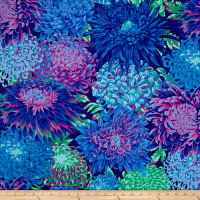Kaffe Fassett Collective Japanese Chrysanthemum Cotton Fabric Blue