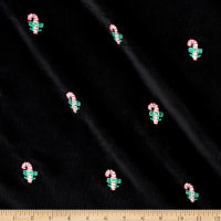 Kaufman Embroidered Corduroy 21 Wale Candy Canes Black