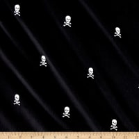 Kaufman Embroidered Corduroy 21 Wale Skulls Black