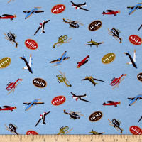 Transportation Cotton Spandex Knit Pilot Print