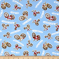 Fabric Merchants Transportation Cotton Spandex Jersey Knit Bike Print