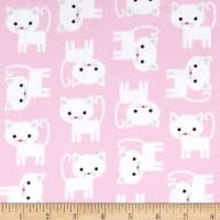 Kaufman Urban Zoologie Flannel Cats Baby Pink