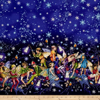 Michael Miller Flower Fairies Enchanted Fairies Double Border Twlight Metallic