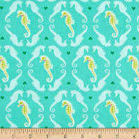 Michael Miller Into The Deep Dapper Seahorses Aqua