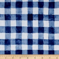 Michael Miller Sommer Double Gauze Mini Painted Gingham Navy